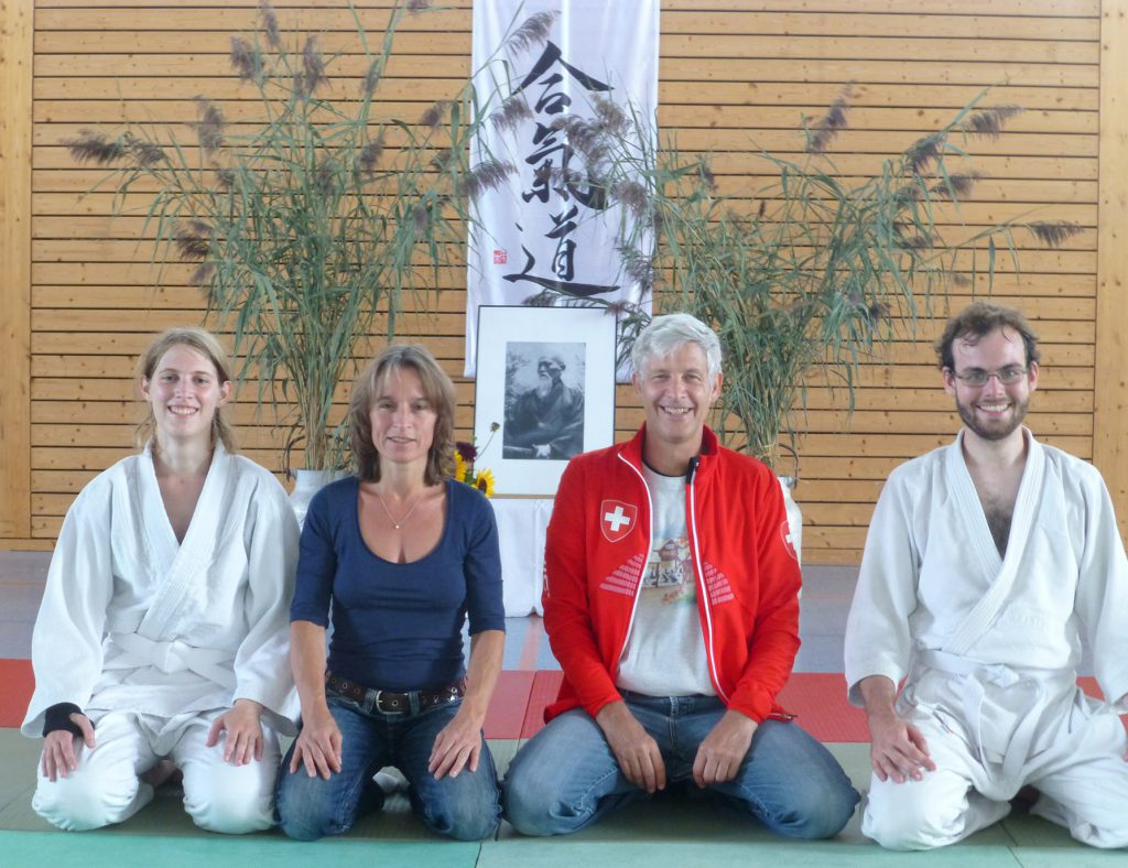 Katharina Ritter, Gabriele Bixel, David Ross und Simon Hannibal (v.l.) beim Sommerlehrgang mit Yamada Sensei
